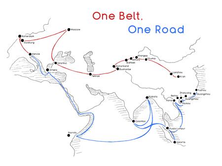 Ilustración de  One Belt One Road new Silk Road concept. 21st-century connectivity and cooperation between Eurasian countries. Vector illustration. - Imagen libre de derechos