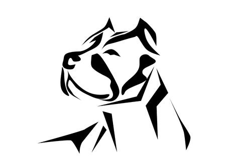 Illustrazione per pitbull. silhouette of dog isolated on white background - Immagini Royalty Free