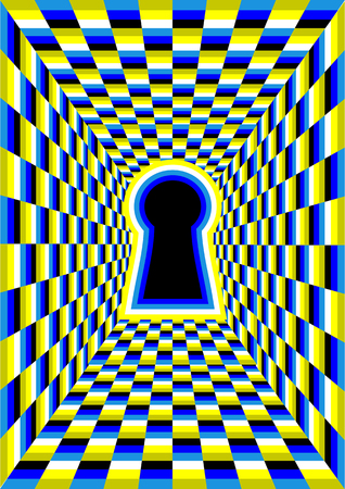 Illustration pour optical illusion with hole. abstract tunnel illusion - image libre de droit
