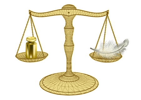 Illustration pour Scales of justice isolated on a white background - image libre de droit