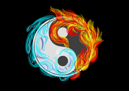 Ilustración de Yin and Yang symbol with water and fire - Imagen libre de derechos