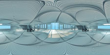 Photo pour HDRI map of hall with escalators(3d illustration) - image libre de droit
