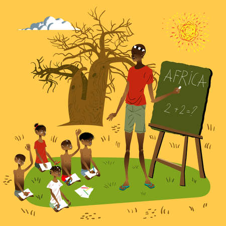 Illustration pour Vector illustration African School - image libre de droit