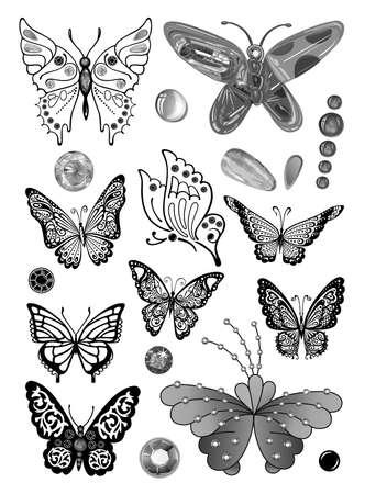 Illustration pour Butterflies monochrome gem rhinestones set suitable for a tattoo isolated on white background - image libre de droit