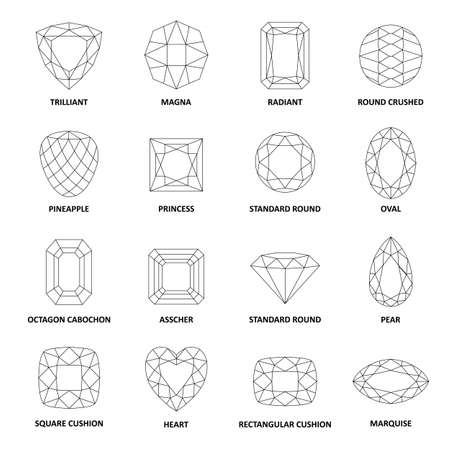 Illustration for Low poly popular black outlined gems cuts isolated on white background, illustration - Royalty Free Image