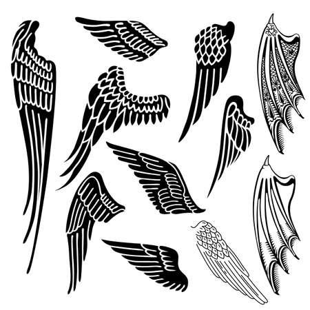 Illustration for Wings set linear silhouette isolated on white background, vector illustration - Royalty Free Image