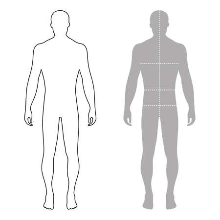 Ilustración de Fashion man full length outlined template figure silhouette with marked body's sizes lines (front view), vector illustration isolated on white background - Imagen libre de derechos