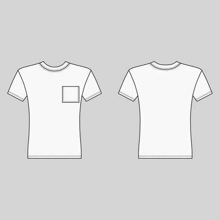 Illustration pour Short sleeve t-shirt outlined template (front & back view), vector illustration isolated on gray - image libre de droit