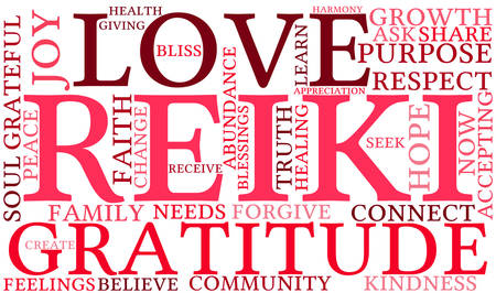 Illustration for Reiki word cloud on a white background. - Royalty Free Image