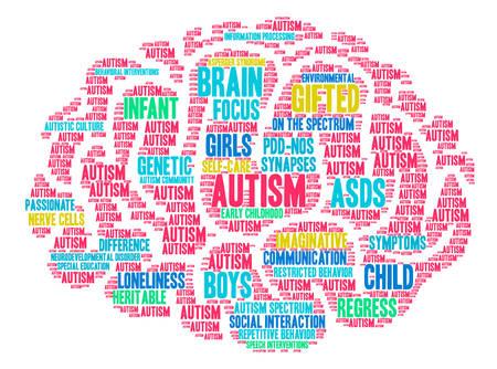 Illustration pour Autism word cloud on a white background. - image libre de droit
