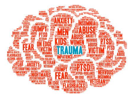 Foto de Trauma Brain word cloud on a white background. - Imagen libre de derechos