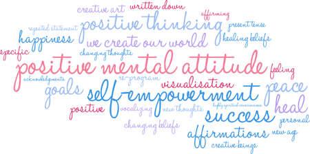 Illustration pour Positive Mental Attitude word cloud on a white background. - image libre de droit