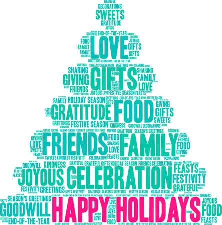 Illustration pour Happy Holidays word cloud on a white background.  - image libre de droit