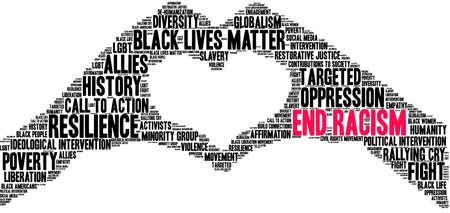 Illustration pour End Racism word cloud on a white background.  - image libre de droit