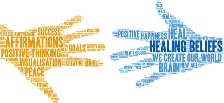 Illustrazione per Healing Beliefs Brain word cloud on a white background.  - Immagini Royalty Free