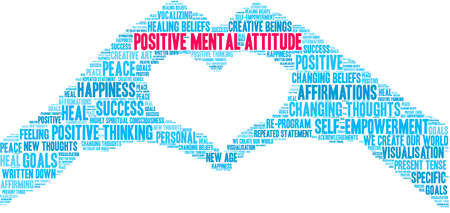 Illustrazione per Positive Mental Attitude Brain word cloud on a white background. - Immagini Royalty Free
