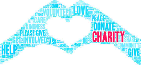 Ilustración de Charity word cloud on a white background. - Imagen libre de derechos