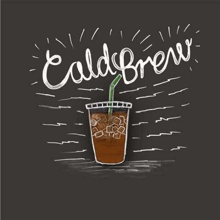 Ilustración de cold brew and a cup of coffee in style lettering on black background - Imagen libre de derechos