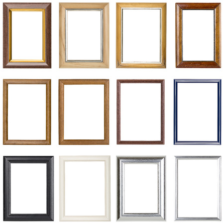 Photo pour collection of wooden picture frames, isolated on white - image libre de droit