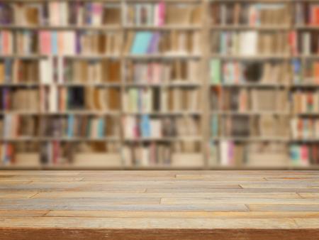 Foto de Empty wooden table and modern library background, product display - Imagen libre de derechos