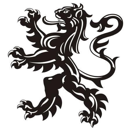 Illustration pour Heraldic lion tattoo / vector - image libre de droit