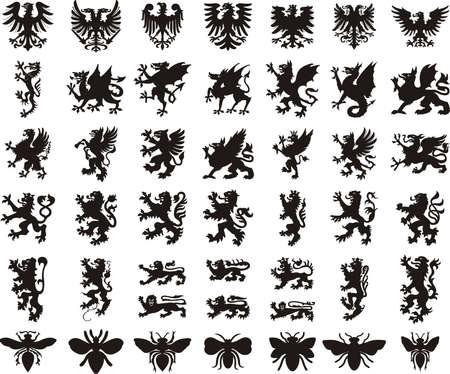 Illustration for Heraldic elements set: eagle, dragon, lion, bee - Royalty Free Image