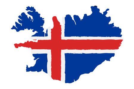 Illustration pour Map of Iceland with Flag. Hand Painted with Brush. Vector Illustration. - image libre de droit