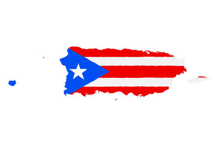 Illustration pour Map of Puerto Rico with Flag. Hand Painted with Brush. Vector Illustration. - image libre de droit