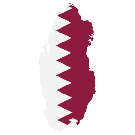 Illustration pour Map of Qatar with Flag. Hand Painted with Brush. Vector Illustration. - image libre de droit