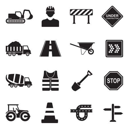 Illustration pour Road Construction icons in black flat design illustration. - image libre de droit