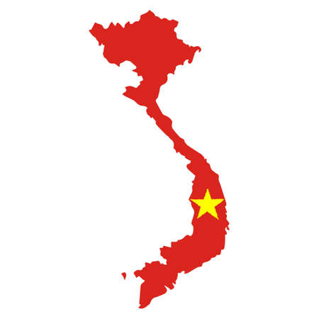 Illustration for Map of Vietnam with Flag. Hand Painted with Brush. Vector Illustration. - Royalty Free Image