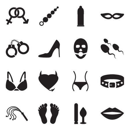 Ilustración de Sex And Fetish Icons. Black Flat Design. Vector Illustration. - Imagen libre de derechos