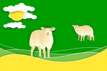 Ilustración de Sheep on a green meadow. Paper cut shapes and layers. Vector EPS10 - Imagen libre de derechos