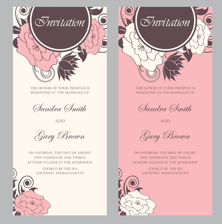 Illustration for Wedding invitation cards set  - Royalty Free Image