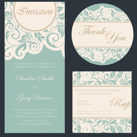 Photo pour Set of wedding invitation cards - image libre de droit