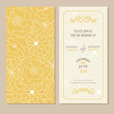 Illustration for Wedding invitation or announcement card with beautiful floral background. - Royalty Free Image