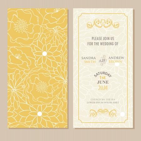 Photo pour Wedding invitation or announcement card with beautiful floral background. - image libre de droit