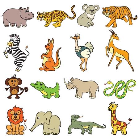 Illustration pour Cute zoo animals collection. Vector illustration. - image libre de droit