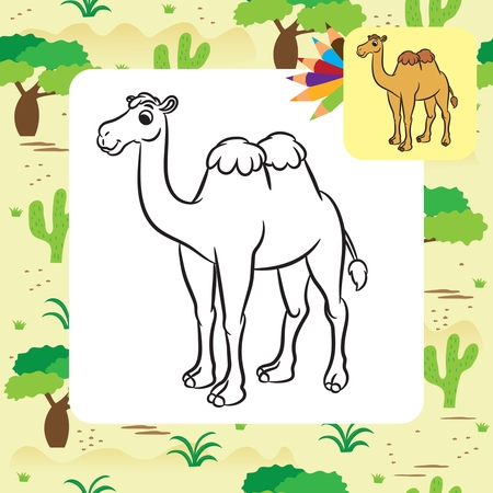 Illustration pour Illustration of cute camel. Coloring page.Vector - image libre de droit