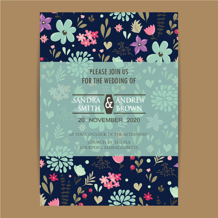 Illustration for Wedding Invitation Card With Beautiful Flowers - Royalty Free Image