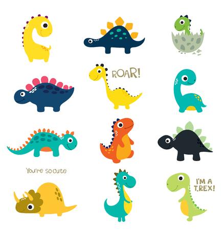 Ilustración de Set of little cute dinos. Vector illustration - Imagen libre de derechos