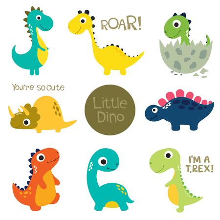 Illustration pour Set of little cute dinos. Vector illustration - image libre de droit