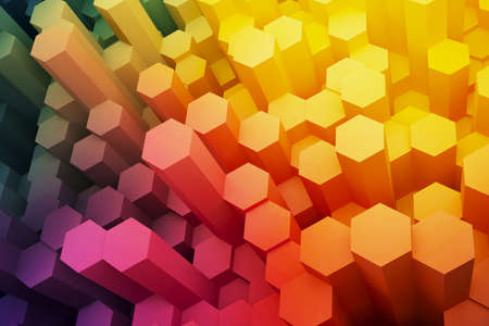 Foto de Abstract hexagon electronic shield background. 3d rendering. - Imagen libre de derechos