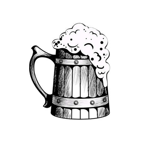 Illustration pour Wooden beer mug with beer foaming in it - image libre de droit