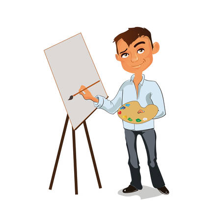 Artist male painting picture with color palette. Vector illustration.