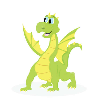 Magic tall green dragon. Fantastic cartoon animal. Isolated vector Illustration.