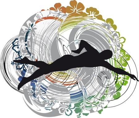 illustration of Man swimming. Vector illustration