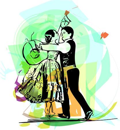 Illustration for Illustration of Couple dancing marinera. Peruvian dancing. - Royalty Free Image