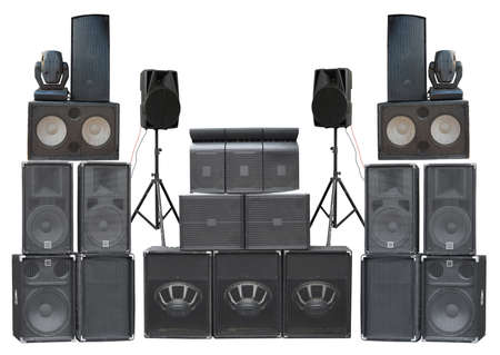 Photo for Big group of old industrial powerful stage sound speakers isolated over white background - Royalty Free Image