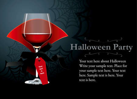 Illustrazione per Vector of Halloween Party poster, banner. Red wine glass with vampire clothes - Immagini Royalty Free